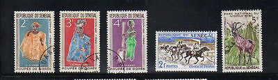 Senegal 5 old used stamps