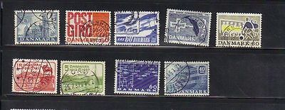 Denmark 9 old used stamps