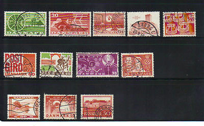 Denmark 12 old used stamps