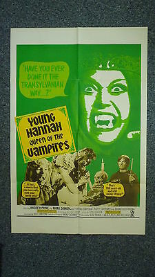 YOUNG HANNAH Queen of the Vampires Original 1970s One Sheet Horror Movie Poster