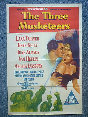 THE THREE MUSKETEERS Original 1940s OS Movie Poster Lana Turner, Vincent Price