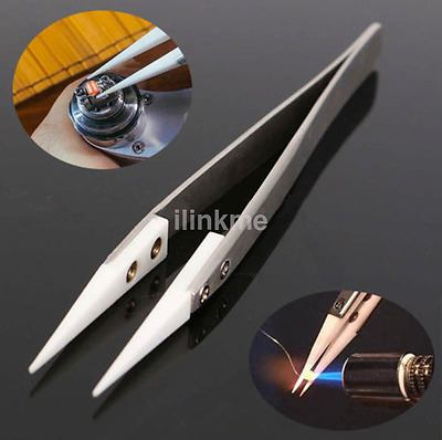 2017 Ceramic Tipped Stainless Steel Tweezers Fine Pointed Heat Resistant US