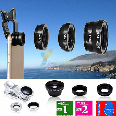 3in1 YP12 Clip On Camera Lens 180°Fisheye+Wide Angle+Macro For Cell Phone Galaxy