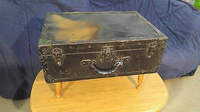 "Nice Vintage / Antique Black 24"" Travel Steamer Trunk / Chest Table / Stool USA"