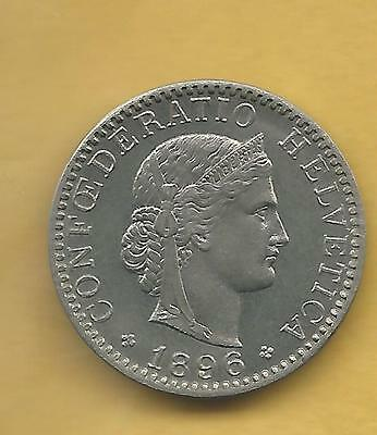 Switzerland Twenty Rappen 1896 Very Nice
