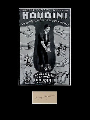 HARRY HOUDINI signed autograph PHOTO DISPLAY Magician Illusionist Escapologist