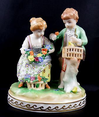 Beautiful Vintage Carl Thieme Dresden Figurine Young 'Spring' Couple