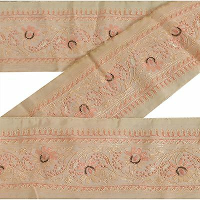 Vintage Sari Border Antique Hand Embroidered 1 YD Indian Trim Sewing Cream Lace