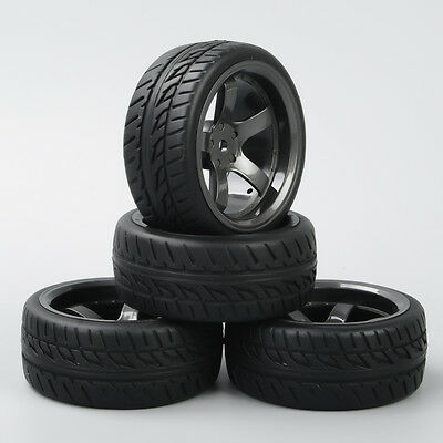 D5M 1:10 RC On Road Speed Racing Car Rubber Tyre Tires 5 Spoke Wheel Rim 4PCS