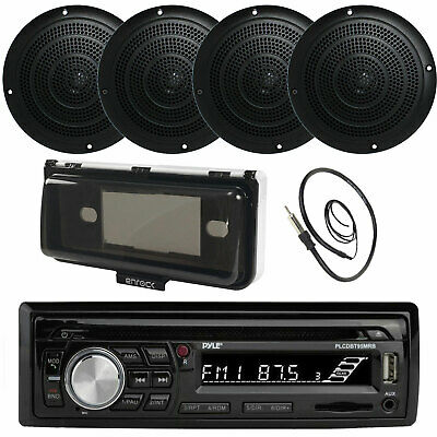 """Pyle CD SD Bluetooth Boat Stereo, 5"""" Marine Speakers, Radio Cover, Antenna"""