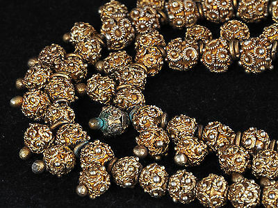*!* Antique GILDED SILVER necklace w/ granulated & filigree beads. MAURITANIA