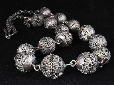 *!* Antique SILVER necklace of filigree beads. MAURITANIA