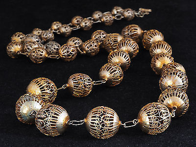 *!* Antique GILDED SILVER of filigree beads. MAURITANIA