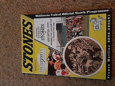Football Programme League Cup Maidstone Utd V Leicester City 91-2