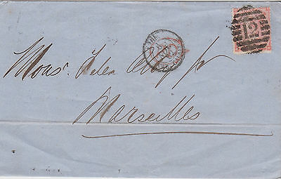 1862 QV LONDON 4d VERM STAMP ON WRAPPER USED IN MARSEILLES =12= NUMERAL CANCEL