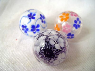 NEW SET OF 3 FLOWER 22mm HANDMADE GLASS MARBLES TRADITIONAL COLLECTOR HOM