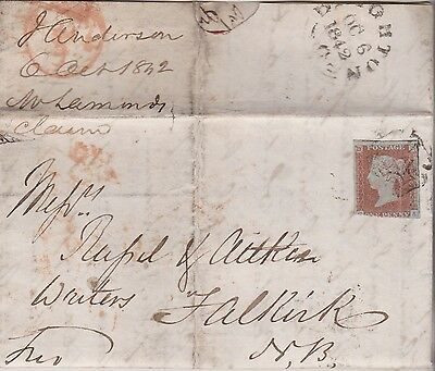 1842 QV GLASGOW 1d RED IMPERF STAMP ON LETTER TO FALKIRK & MALTESE CROSS