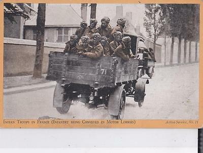 Ww2 Postcard, Indian Troops In France In Lorries, On Active Service,  R2