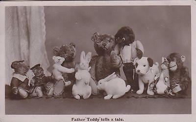 1910 Rp Postcard: Father Teddy Tells A Tale. Davidson Brothers,bears,dogs  R9