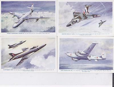 6 VINTAGE 1950s POSTCARDS: BRITISH FIGHTER PLANES ARTIST SIGNED , J SALMON   R11