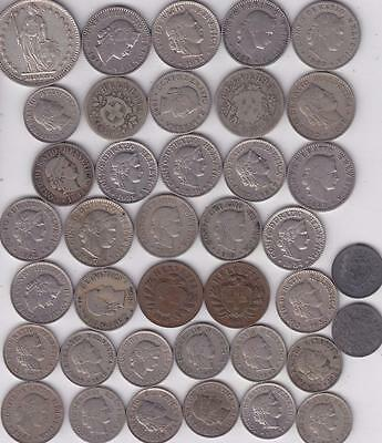 39 Switzerland Coins 1850-1962, 1,2,5,10,20 Rappen Swiss    R33