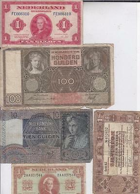 5 Netherlands Banknotes 1938-1945 One To 100 Guilders, Dutch   R48