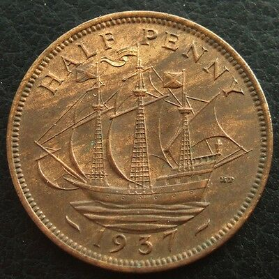 GB 1937 GEORGE VI HALFPENNY : CORONATION 1st YEAR OF ISSUE ...t106