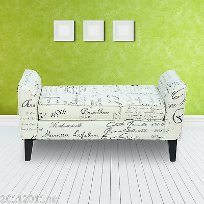HOMCOM Armed Scripted Bench Seat Cushions Home Furniture Upholstered Cream New