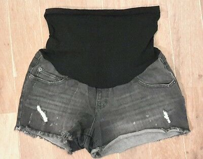 Cute Maternity Shorts In Black Denim, Size Small, Elasticated Band Over Bump