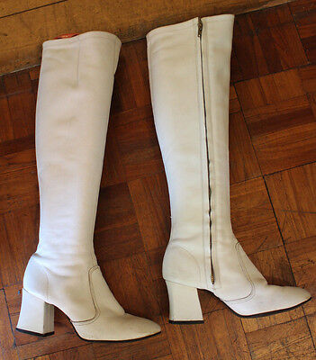 Original 1960s Vintage Boots White Leather Size 4UK Mod scooter
