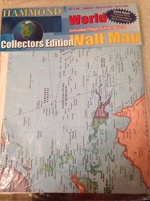 Hammond Collectors Edition Wall World Map Flags Of Nations New In Package