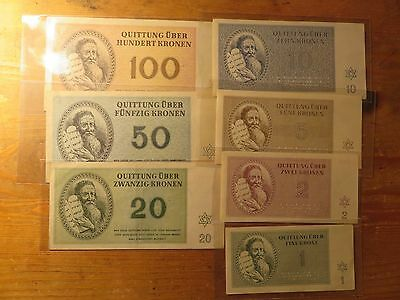 1943 WW II Full Set of Banknotes Theresienstadt Ghetto