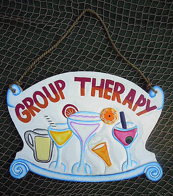 """Hand Crafted Wood """"Group Therapy""""  Bar Sign Tropical Beach Decor"""