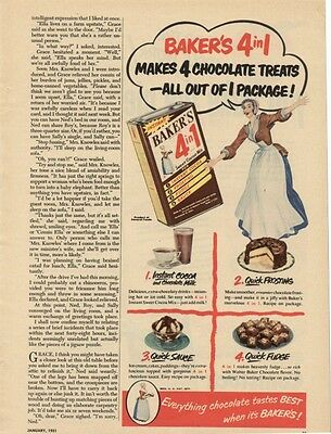 Mag Ad January 1951 Baker's Everything Chocolate Tastes Best When It's Baker's!