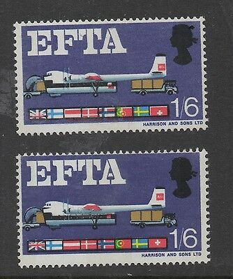 1967 EFTA (ord). 1s 6d value with attractive red shift error. Unmounted mint.
