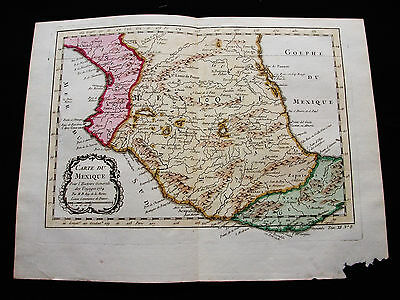 1754 BELLIN - Orig. map of CENTRAL AMERICA, MEXICO, PANUCO River MOCTEZUMA River