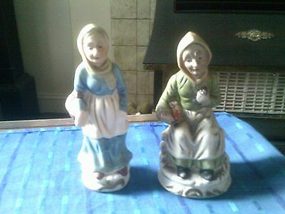 Two Bisque Finish China Figurines Of Two Old Ladies