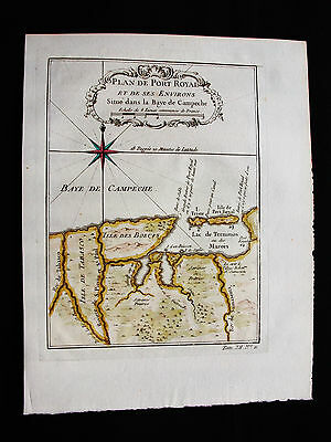 1754 BELLIN - Orig. map of CENTRAL AMERICA, MEXICO, PORT ROYALE CAMPECHE YUCATAN