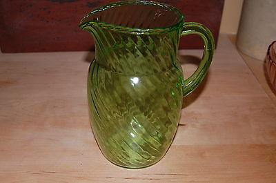 Vintage Green Depression Glass Pitcher - Fluted Swirl Top To Bottom
