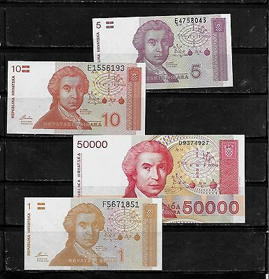Croatia 4 Diff Uncirculated Banknote Bill Note Paper Money Lot Set Collection
