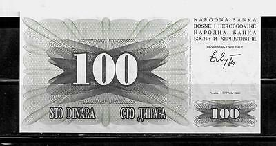 BOSNIA & HERZEGOVINA #13a 100 DINARA CURRENCY OLD UNC BANKNOTE NOTE PAPER MONEY
