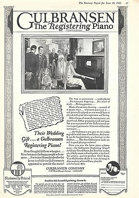 1925 Gulbransen The Registering Piano Ad Their Wedding Gift