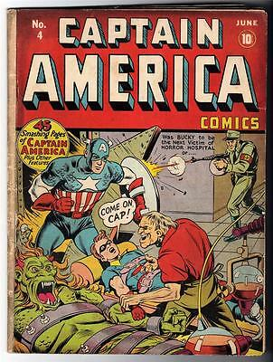 MARVEL TIMELY Comics CAPTAIN AMERICA Golden age #4 1941 Bucky Story VG 4.0