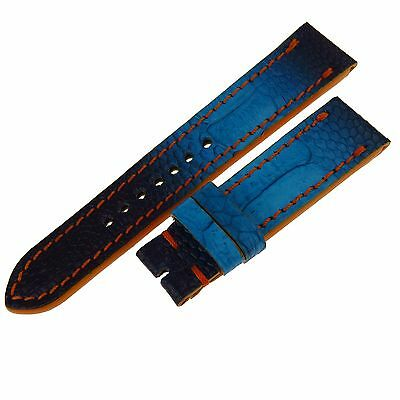 Geniune Ostrich Leg Skin Blue Mansarea Watch Strap 22/20Mm