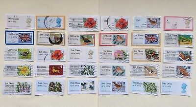 GB: 30 Different Used Post & Go Stamps, On Paper.