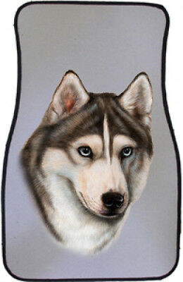 Car Floor Mats Pair - Grey & White Siberian Husky 36018
