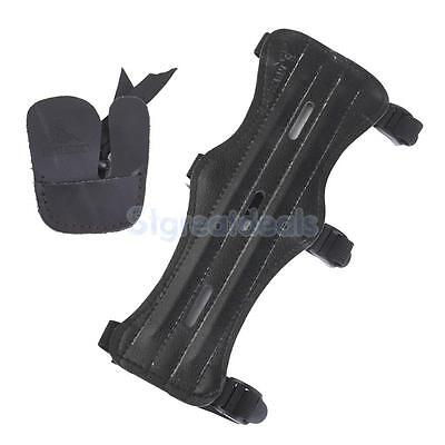 3 Strap Shooting Archery Arm Guard Protection Safe Gear Guard + Finger Guard