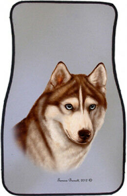 Car Floor Mats Pair - Red & White Siberian Husky 36230
