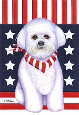Large Indoor/Outdoor Patriot (TP) Flag - Bichon Frise 75037