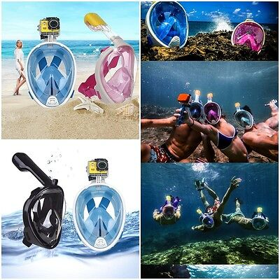 Hot Breath Full Face Mask Surface Diving Snorkel Scuba for GoPro Swimming Tools
